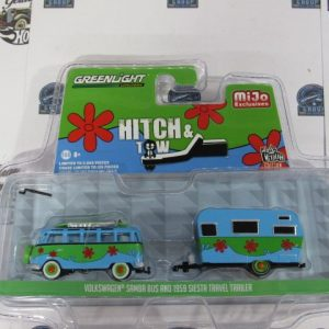 VOLKSWAGEN SAMBA BUS AND 1959 SIESTA TRAVEL TRAILER HITCH MIJO GREENLIGHT1:64